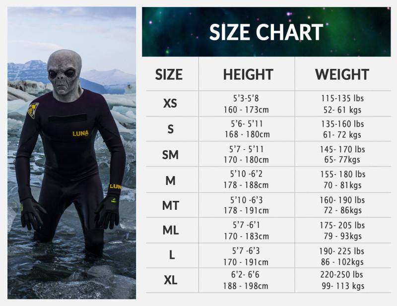 Mens Wetsuit Size Chart
