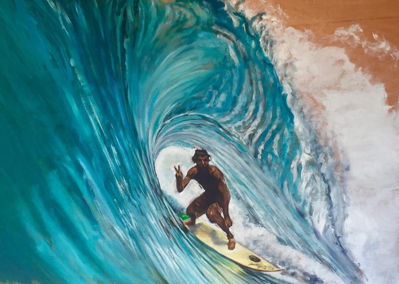 Portrait of The Bus Stop King oil on wood 36x48hellip