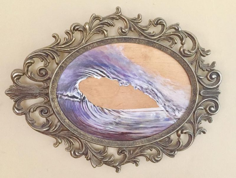 A small elegant painting on birch framed in antique ironhellip