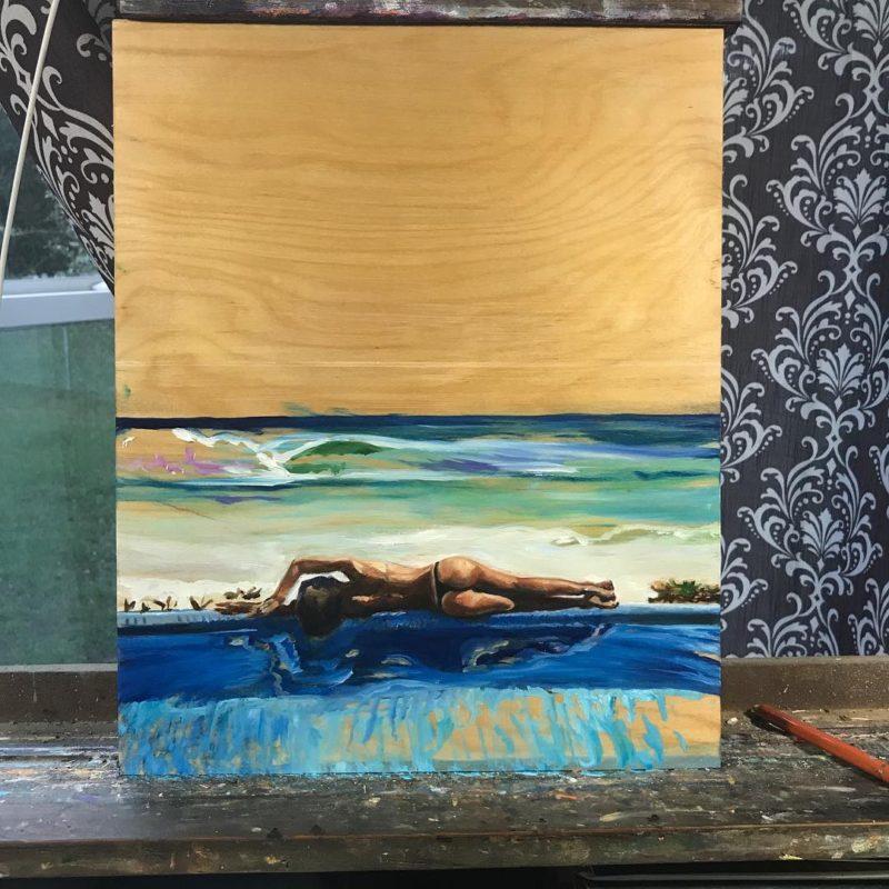 New oil sketch in progress  art surfing oilonwood style