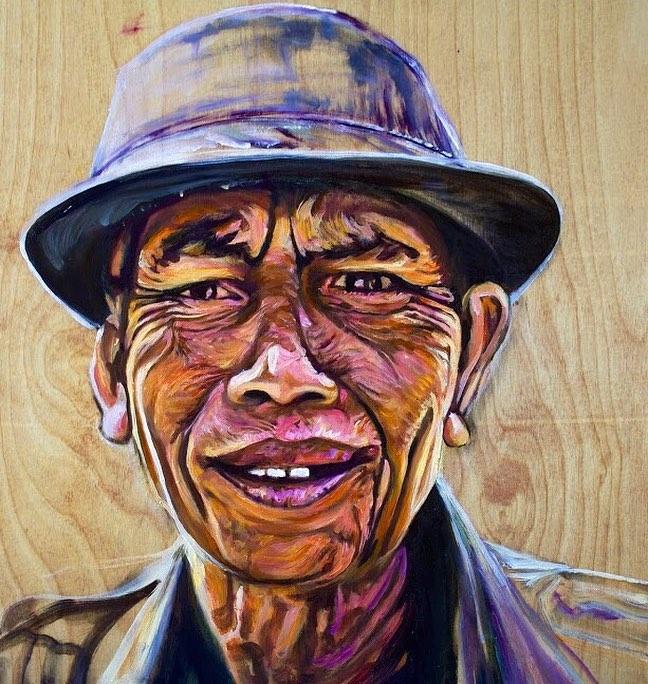 My portrait style oilonwood portrait painting indonesia