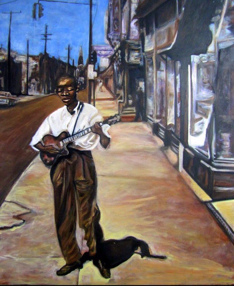 John Lee Hooker  2008 Oil on wood 24x 32hellip