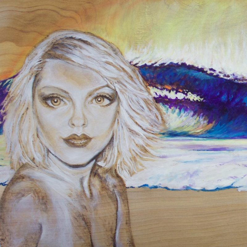 Detail of Blondie And The Purple Peak oilpyrography on birchhellip