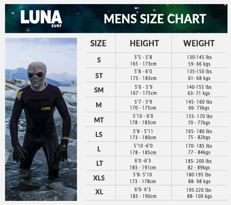 lunasurf wetsuit size chart