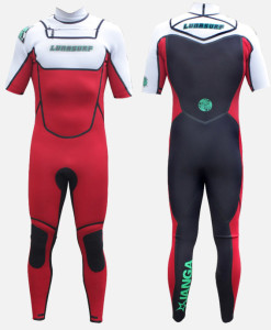 2mm short sleeve wetsuit black red