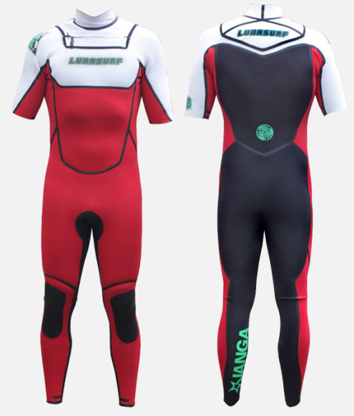 2mm short sleeve wetsuit black red