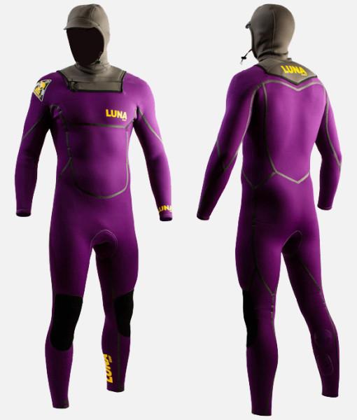 4mm hooded wetsuit purple