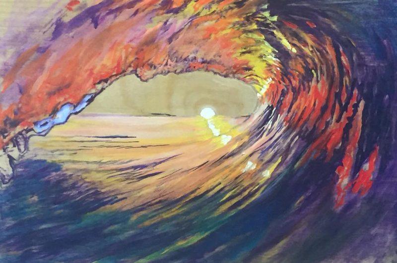 New one in progress!!! Yew! 8x11 surf artist artbuyer artcollectorhellip