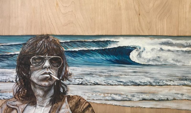 Keith At Pipeline  oilpyrography on birch 14x24 art surfarthellip